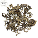 Hot Selling Mixed 50pcs/Lot Assorted Carved Charms Pendants Beads Metal Alloy Pandent Plated Antique Bronze Diy Bead