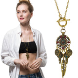 Hot Selling New Fashion Vintage Boho Style Coin Feather Bohemia Long Chain Necklaces & Pendants