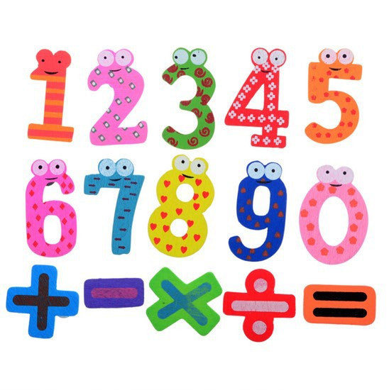 HOT 6cm x 5cm 15 Number Figure Educational Kids Children Wooden Refrigerator fridge magnet stick