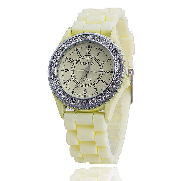Hot Silicone GENEVA Watch Women Rhinestone Watches Fashion Casual Quartz Watch Sport watch