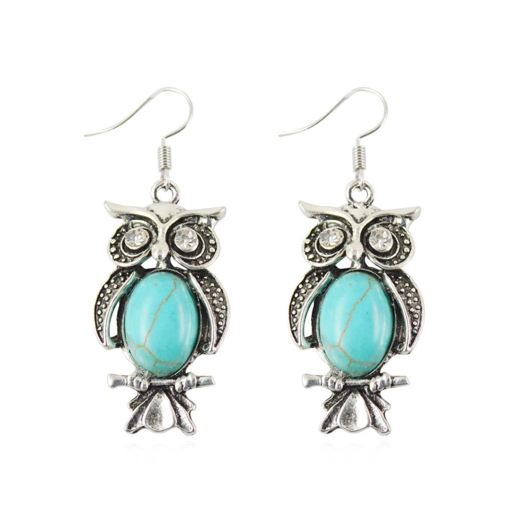 Hot Silver Color Dangle Earrings Charming Crystal Tibetan Turquoise Earrings Owl Drop Turquoise Earrings for Women