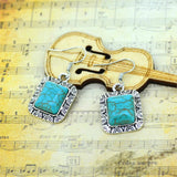 Hot Silver Color Dangle Earrings Retro Turquoise Square-Shaped Pendant Earrings for Women Gift Turquoise Jewelry