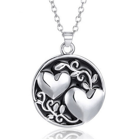Hot Stamped New Mother's Day Gift Love Heart Double Sided Heart Engraved Pendant necklaces Jewelry for Women Fashion Accessories