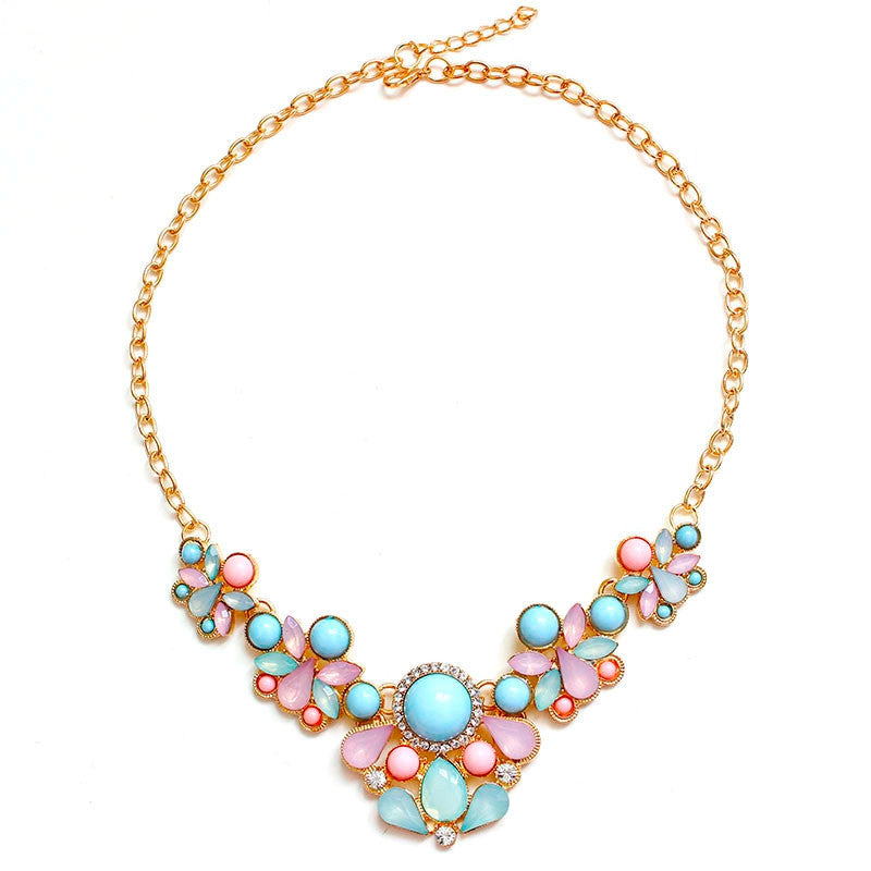 Hot Sweet Elegant Women Bohemian Bib Choker Necklace & Fresh Candy Color Pendant Necklaces
