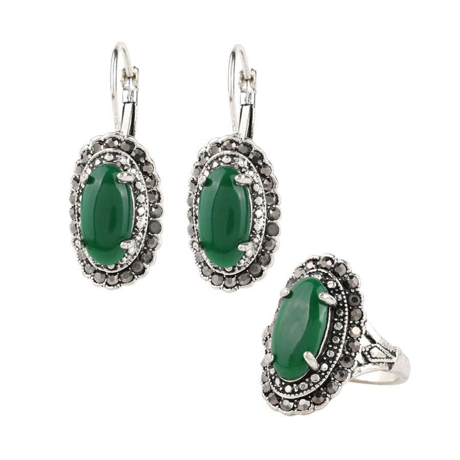 Hot Vintage Green Earrings And Rings Jewelry Sets Plating Silver Oval Resin Retro Accessories Man-made diamond Jewelry