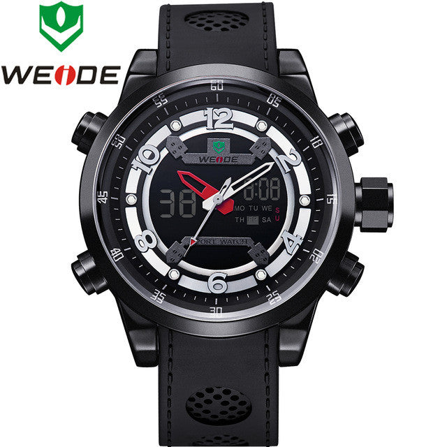 WEIDE Sports PU Band Quartz Movement Military Army Diver Stainless Steel Buckle Men Watch Luxury Brand Famous Wristwatches