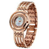 Hot Women Watches Luxury Brand Analog Display Stainless Steel Watch Band Rose Gold Ladies Women Rhinestone Watch