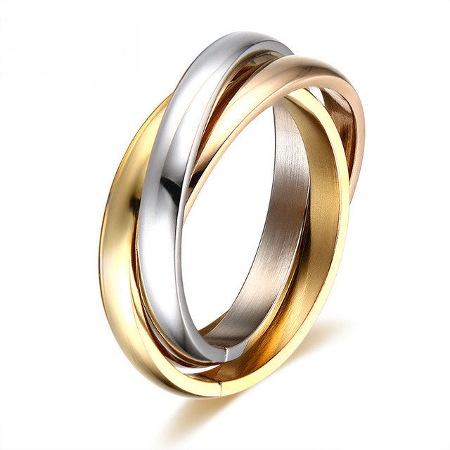 Hot sale Classic Party Finger Ring 3 Rounds 18K Platinum Yellow Gold Plated Fashion Brand Rings For Women and Men Jewelry