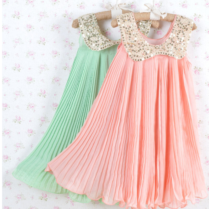Hot sale! Summer Girls Pleated Chiffon One-Piece Dress With Paillette Collar Children Colthes For Kids Baby