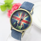 Hot sale uk flag casual watch 11 colors brand quartz watches vintage style women dress wristwatches
