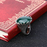 Hot Boutiqu Big Ruby Jewelry Fashion Vintage Wedding Womens Rings Mosaic Gray Crystal Plating Silver Turquoise Ring