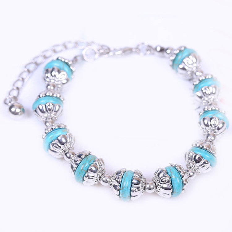 Hot Fashion Vintage Bracelets Turquoise Beads DIY Jewelry Bracelet Plated Silver