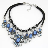 Hot Necklaces Pendants Women Statement Necklace Trendy Colar Choker Necklace Crystal Flower Pendant For Party Gift Wedding
