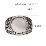 Hot Opal Ring Round Contracted Boho Men Rings Tibet Silver Alloy Lucky Star Vintage Jewelry