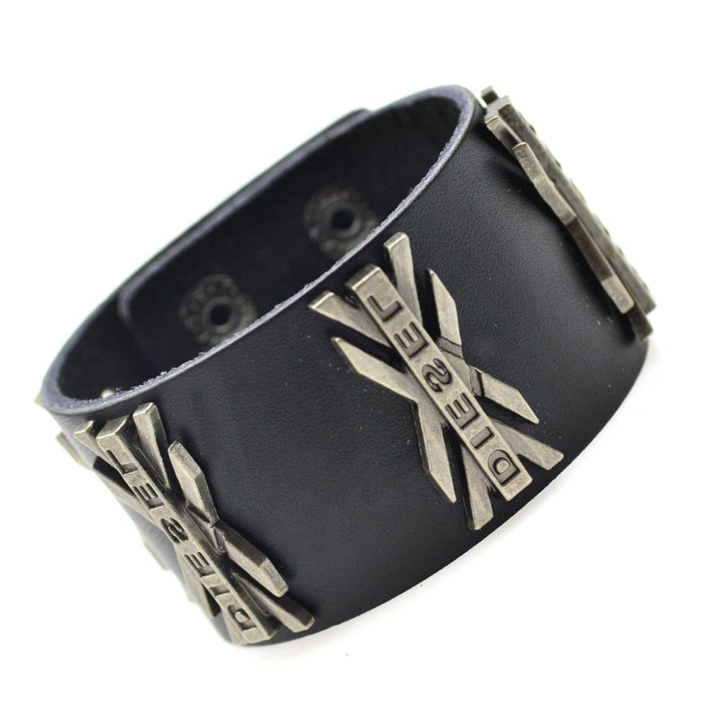 Hot Rock Handmade Braided Black Genuine Leather Bracelets & Bangle Hip-Hop Punk Wide Cuff Bracelets Men Jewelry Accessory