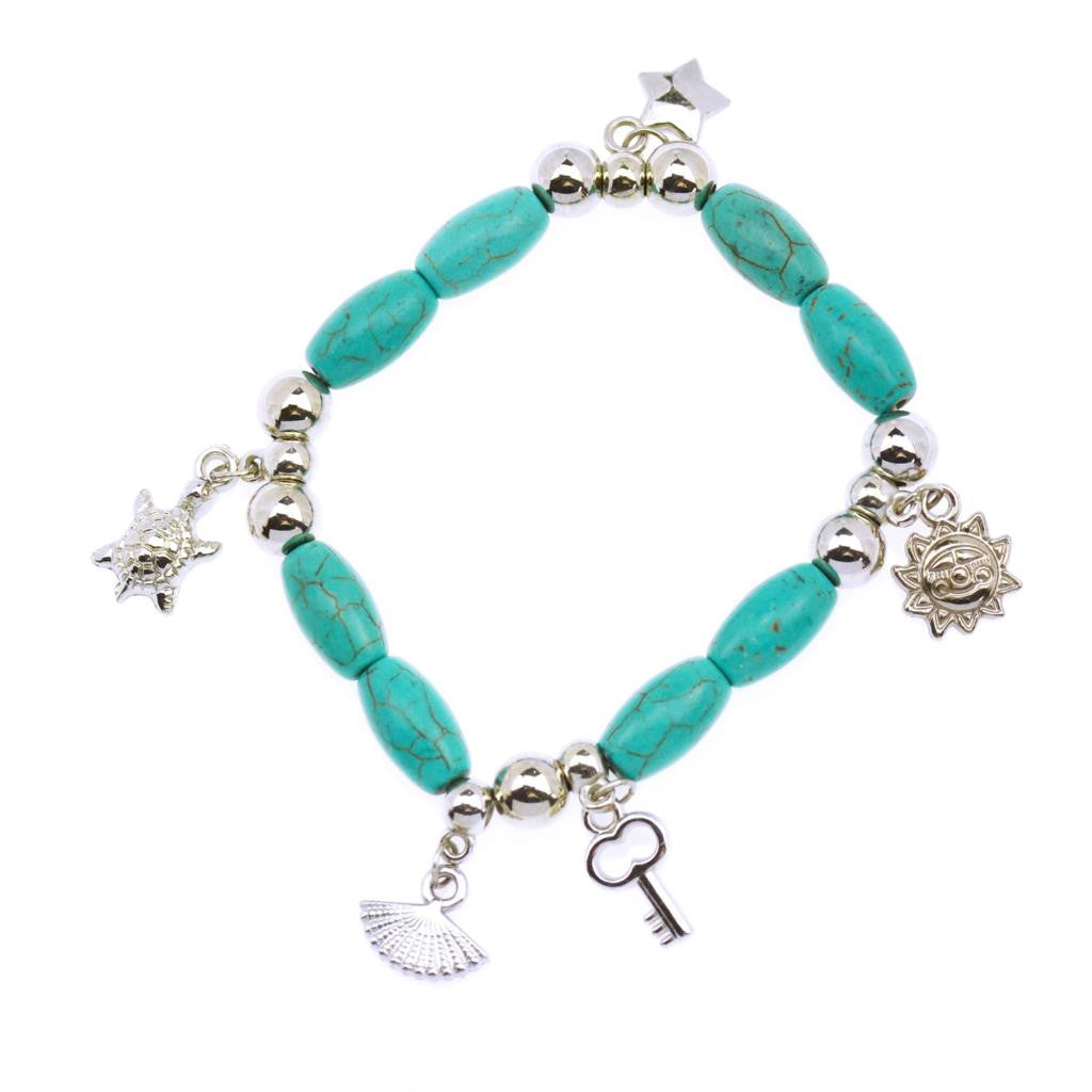 Hot Sale 8 Designs Animal & key & Star Elephants Bracelet Retro bohemian Style beaded Turquoise Fashion Women Bracelet Jewelry