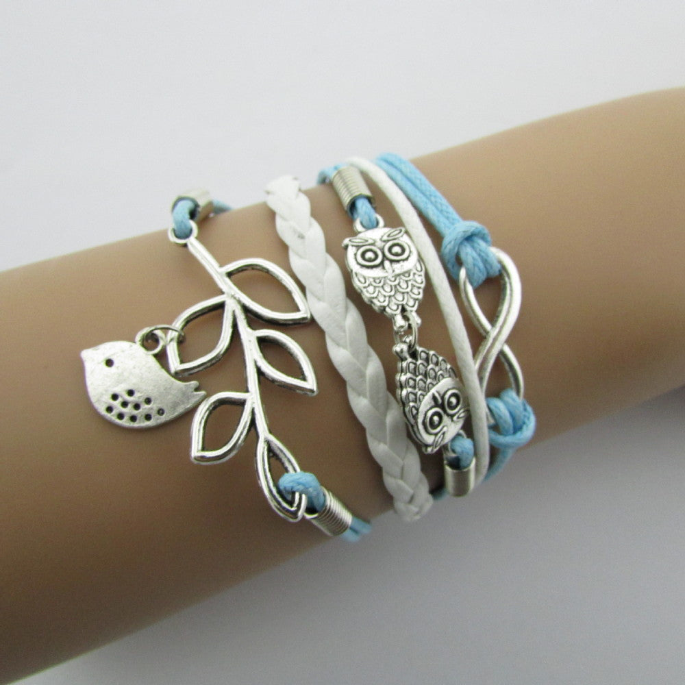 Hot Sale Charm Vintage Anchor Rudder 8 Bronze Wax Cords Multilayer Braided Bracelets For Women