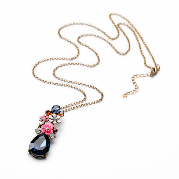 Hot Sale Costume Exquisite Small Flower Drops of Water Long Birthstone Necklace
