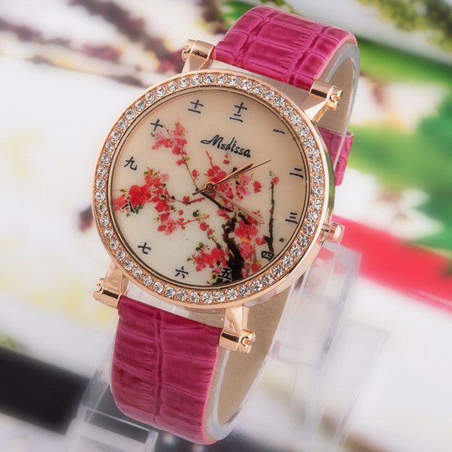 Hot Sale Fashion Lady flower Watches Women Dress Watch Vintage PU Leather Strap Watches