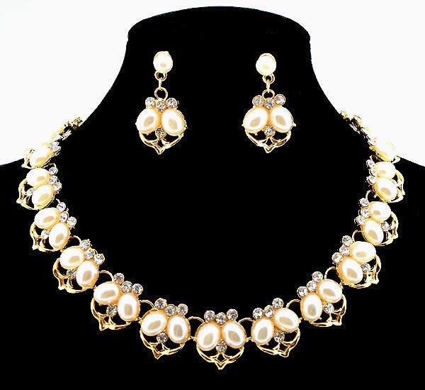 Hot Sale Imitation Pearl Necklace Set Gold Plated Clear Crystal Leaf Design Bridal Jewelry Party Gifts