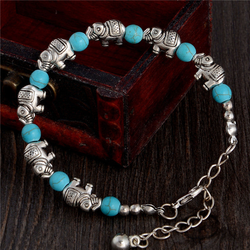 Hot Sale Retro Elephant Adjustable Chain Bead For Ladies Turquoise Bracelet