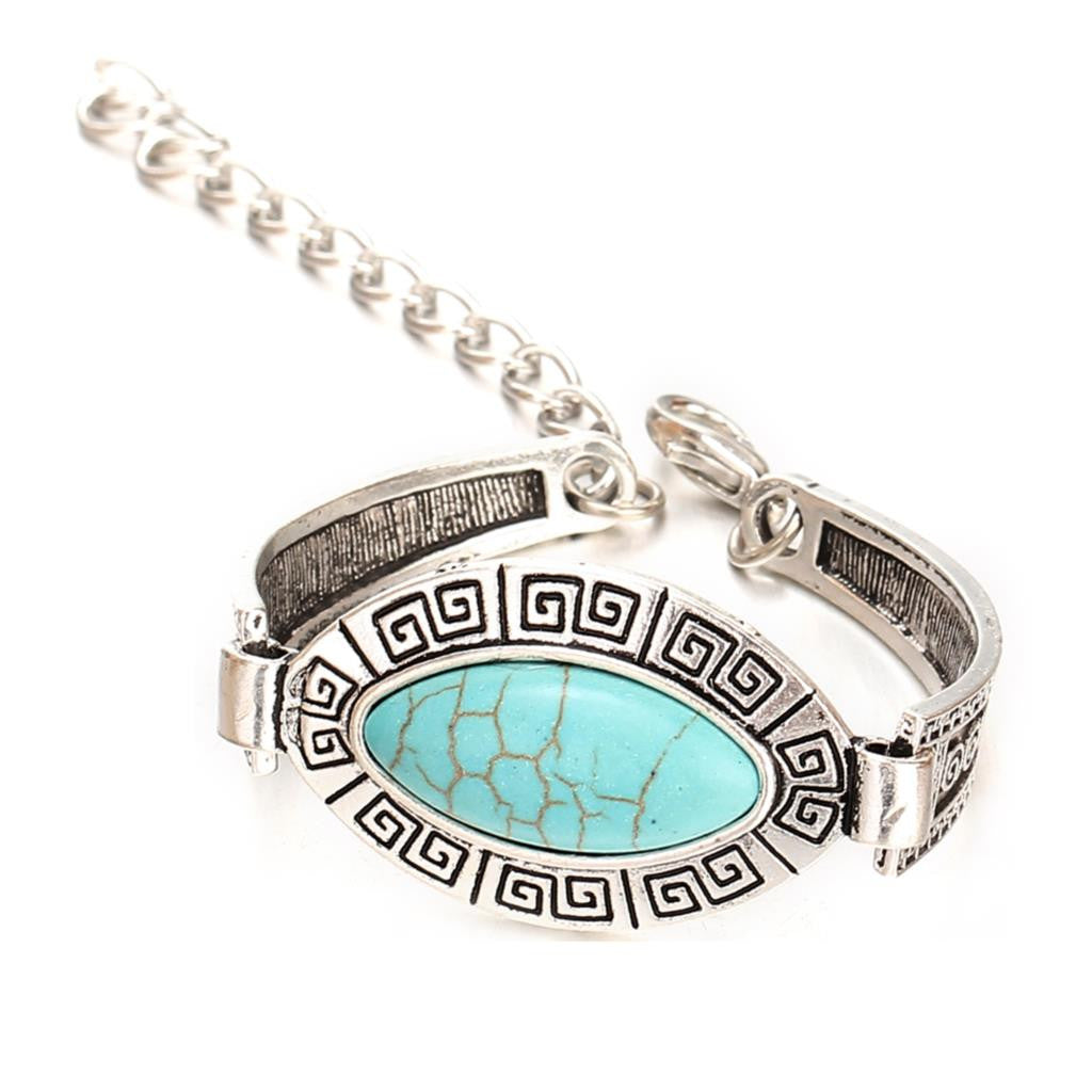 Hot Sale Top Quality Turquoise Bracelet New Fashion Vintage Silver Plated Bracelets for Women Best Birthday Gift