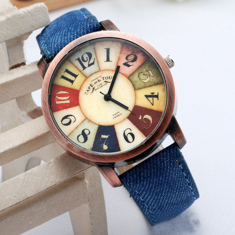 Hot Sale Women Wristwatch 2015 New Style Fashion Casual Watch Unisex Women Men Vintage Demic Fabric Leather Wristwatch