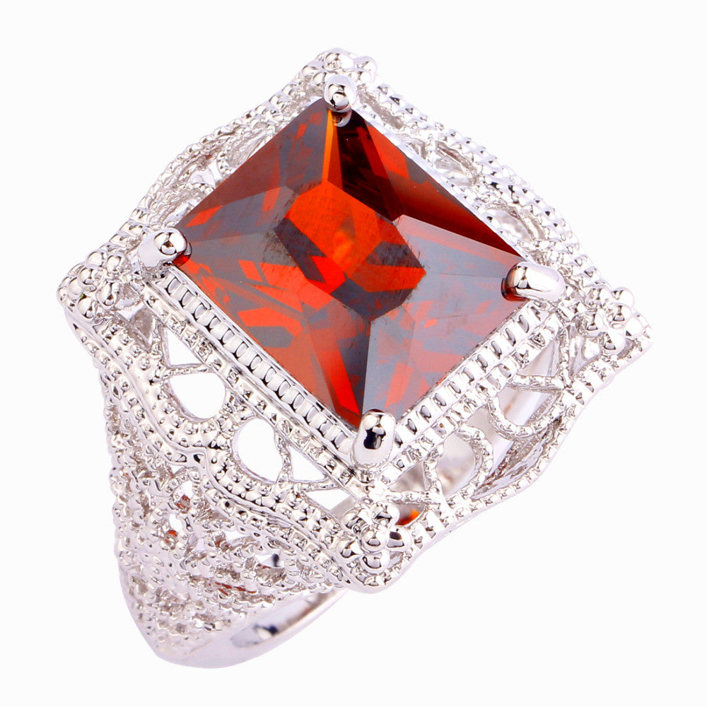 Hot Sales Fashion Wedding Jewelry Emerald Cut Red Garnet Silver Ring Women Party Gift Rings