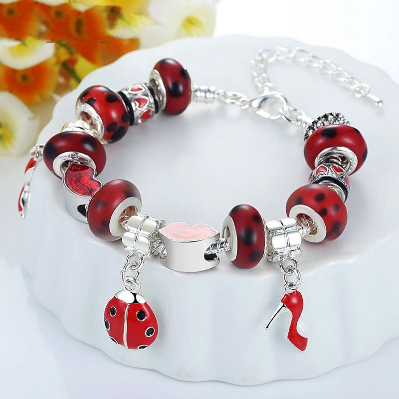 Hot Sell European 925 Silver Charm Bracelet for Women With Murano Glass Beads DIY Jewelry