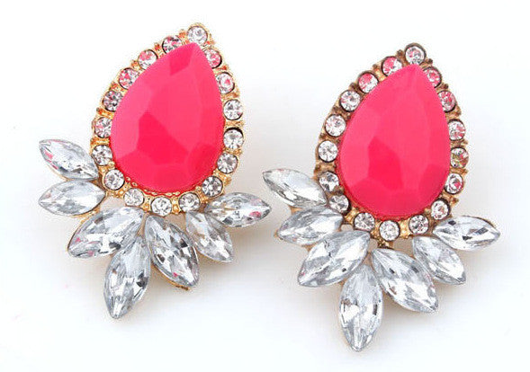 Hot Sell women Jewelry Good Quality 5 Color Fashion Vintage Crystal Stud Earring For Women Statement Earrings