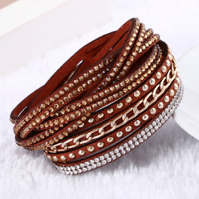 Hot Selling 10 Color Vintage Chain leather bracelet &bracelets for women Trendy Women Jewelry pulseras