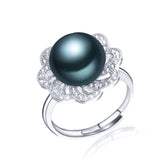 Hot Selling 925 Sterling Silver Ring For Women Black ring 11-12 mm Genuine Freshwater Pearl Jewelry High Quality