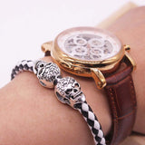 Hot Selling Fashion Braided Leather Bracelets Gold Plated Skull Bracelet Men Punk Wrap Bracelet Women Jewelry