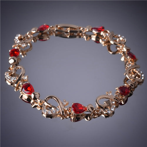 Hot Selling Heart Shaped Bracelets 18K Gold Plated Austrian Crystal Bracelet & Bangle For Women