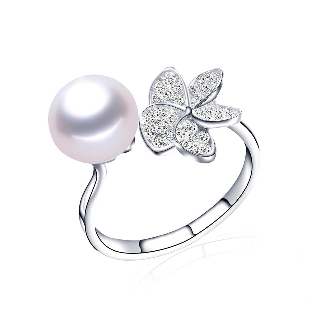 Hot Selling Purple 925 Sterling Silver Ring 100% Genuine Freshwater Pearl Jewelry 4 colors Available Fine Jewelry