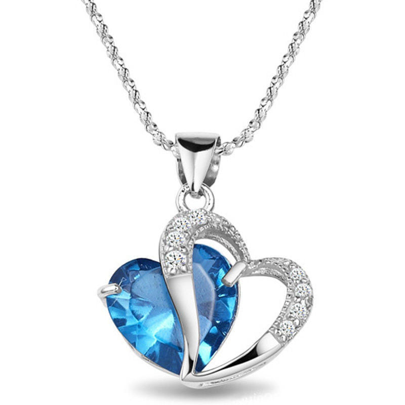 Hot Women Lady Heart Crystal Silver Amethyst Pendant Necklace Jewelry for Lover Gift