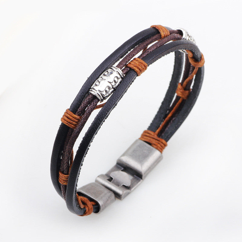 Hot fashion jewelry genuine leather Stainless steel Black Bracelet men's Vintage Bracelets & Bangles