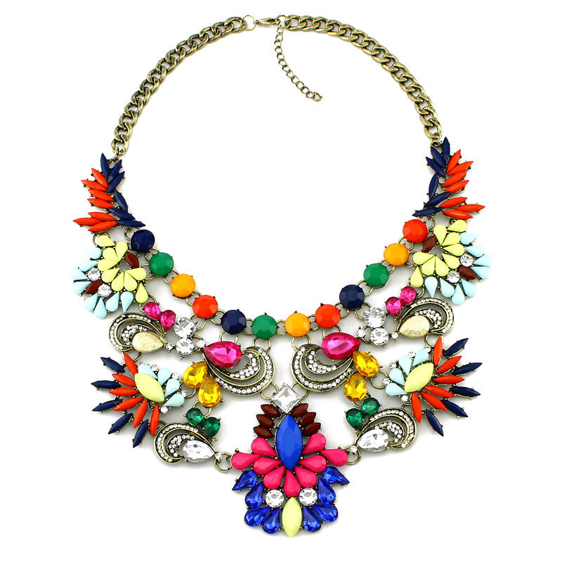 Hot sales Maxi Necklace Woman fashion jewelry Brand Necklaces & Pendants Colorful choker statement necklace
