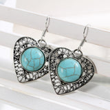 Hot selling New Fashion Brand designer Simple Geometric blue gem Bohemia Retro Turquoise earrings jewelry for woman earrings