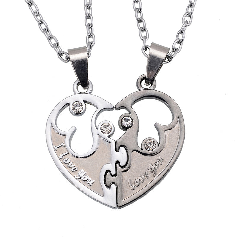 I Love You Couples Lover Pendant Men And Women Necklaces Stainless Double Heart Necklace Jewelry
