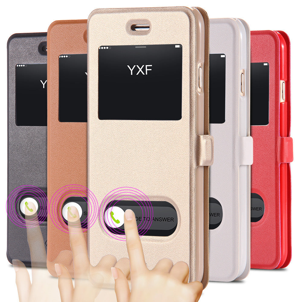 I6/6 Plus Luxury Smart Front Window View Leather Flip Case For Apple Iphone 6 4.7 Inch & For Iphone 6 Plus 5.5 Fundas Cover