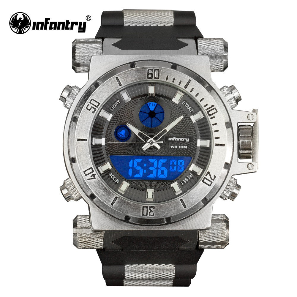 INFANTRY Men Watches Reloj Digital Fashion Military Watch Army Black Chronograph Silicone Wrist Watch Quartz Backlight 3ATM