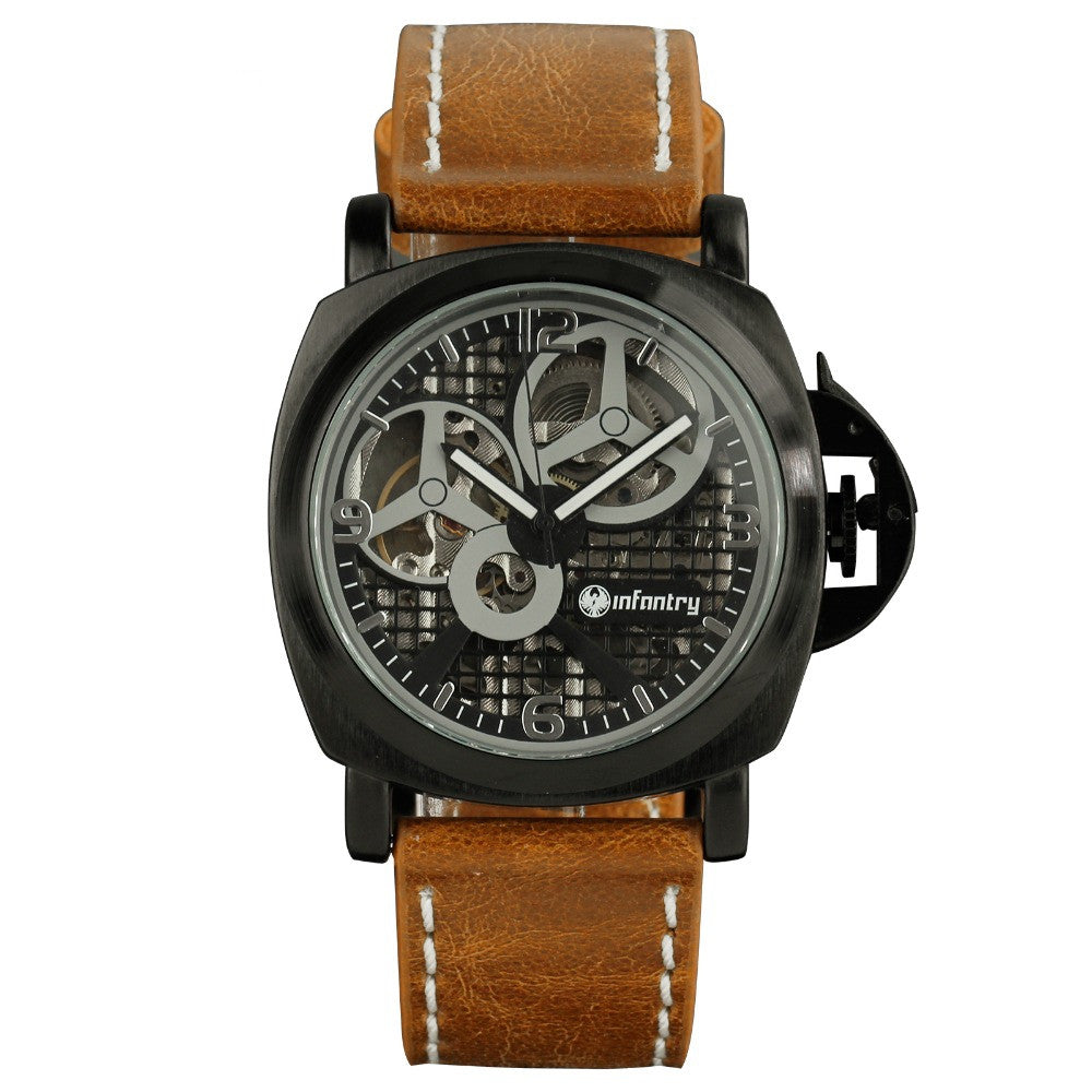 INFANTRY Men's Watches Brand Military Army Wristwatches Brown Leather Hand Winding Mechanical Skeleton New Relogio Masculino