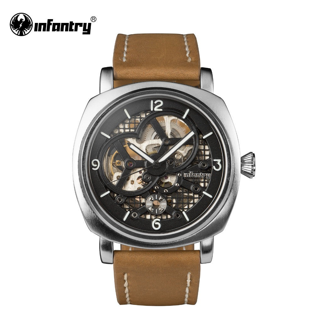 INFANTRY Watch Skeleton Automatic Mechanical Military Mens Watches Leather Strap Fashion Casual Brand Watches Relojes 2016 Clock