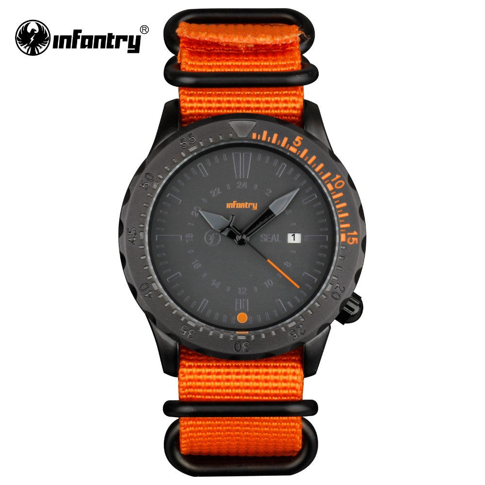 INFANTRY Mens Watches Sports Date Day Quartz Wrist Watch Military Orange G10 Nylon Strap Aviator Army Watch