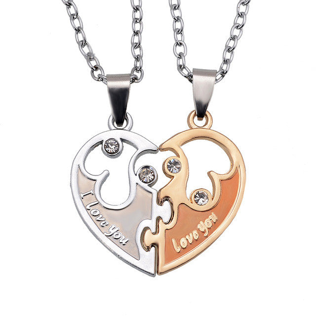 Heart Pendant I Love You Letters New Couple Lovers Necklaces Fashion Women And Men Metal Chain Necklace Jewelry