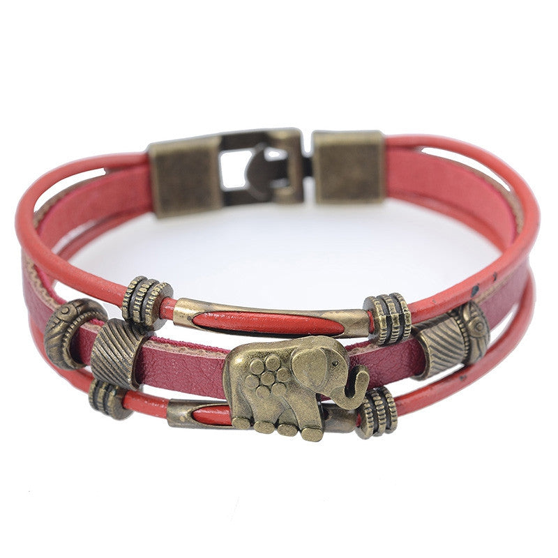 India Animal Elephant Multilayer Wrap Bracelet for Men Women Vintage Red Leather Charm Bracelets Bangles Jewelry Men Wristband