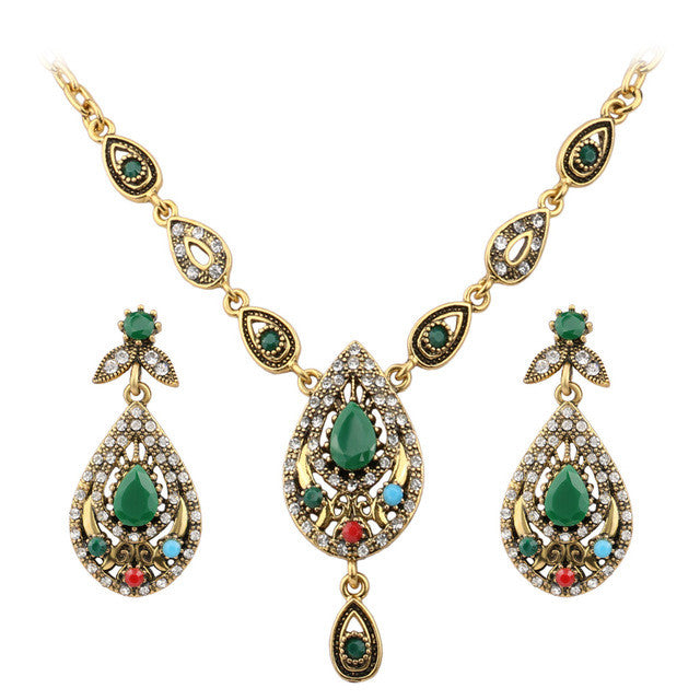 Indian Jewelry Set Elegant Drops Of Water Costume Jewelry Necklace Earring Sets Tibetan Silver Alloy Jewelry For Women
