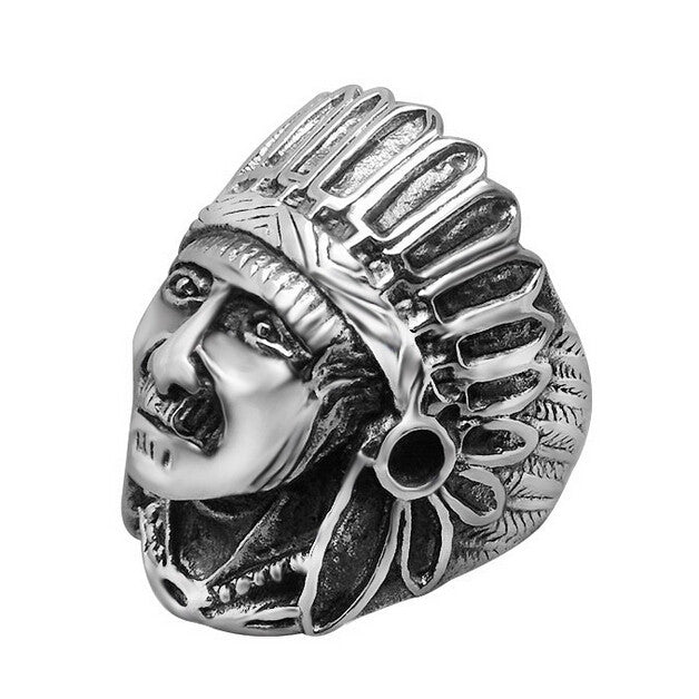Indian Chief Ring Punk Cool Titanium Steel Rings For Men Religious Male Jewelry Accessories Vintage Best Friends Ring Men Anel