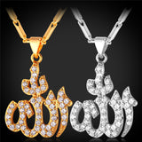 Islamic Allah Pendant Necklace Silver Color Platinum/Gold Plated Cubic Zirconia Charms Religious Muslim Jewelry Women